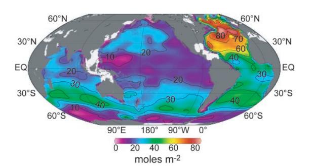 Concentración de CO2 antropoxénico no océano